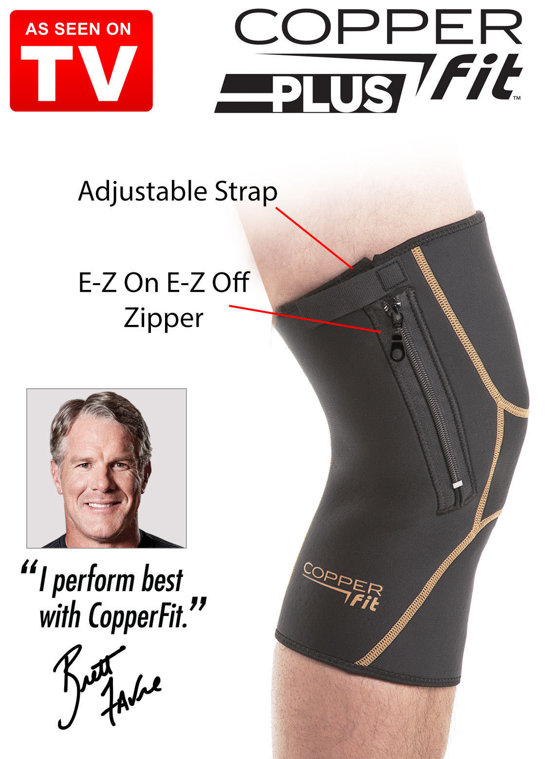 ad434f357b Copper Fit Plus Knee Support Compression Sleeve w zipper XXL 21