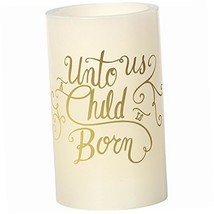 Precious Moments Unto Us A Child Is Born White 5-inch Flameless Pillar C... - $12.78