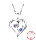 Personalized 925 Sterling Sliver Necklace Customized Names Birthstones H... - $34.76