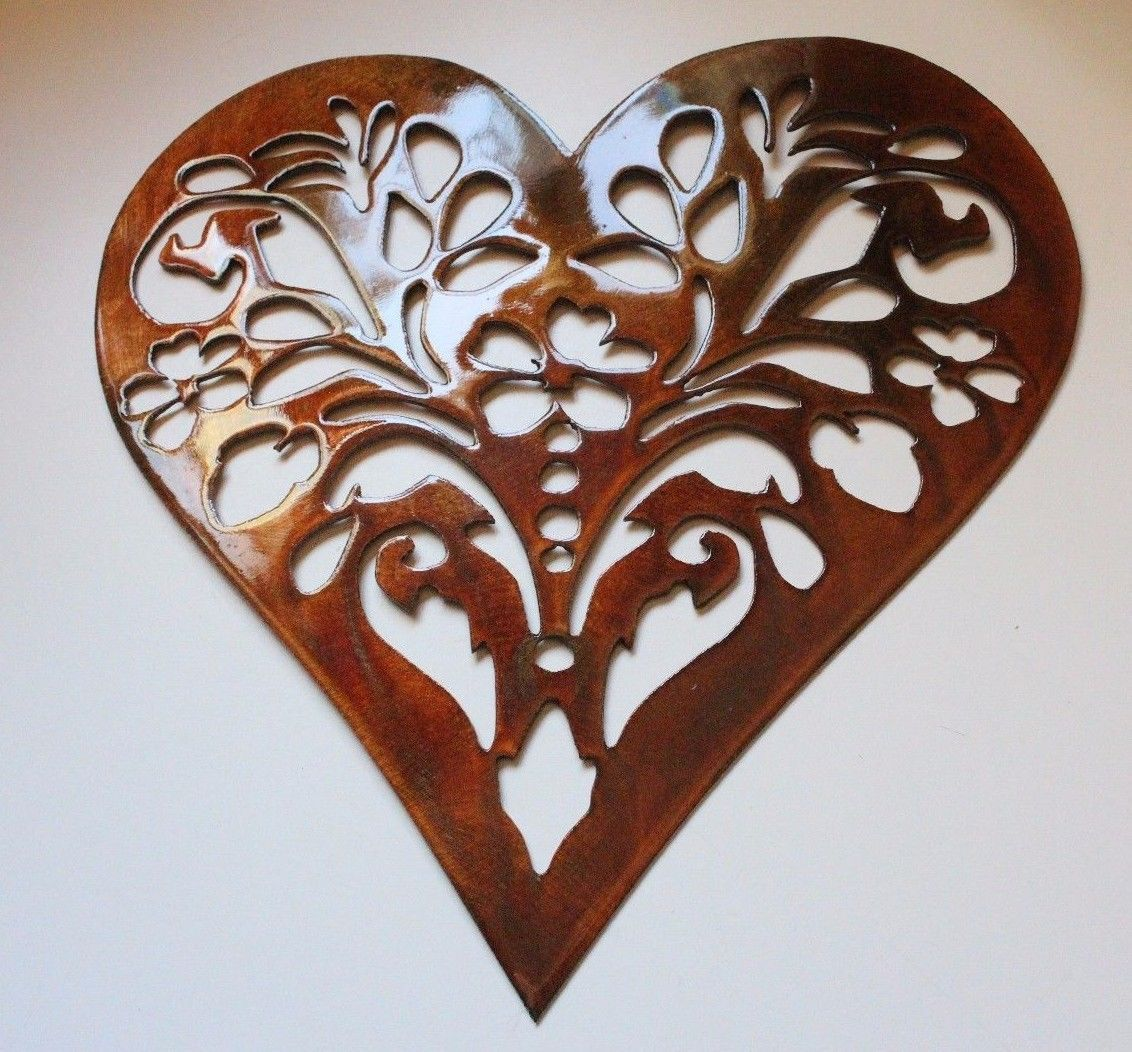 Bronze Kitchen Wall Decor : Ornamental floral heart by hgmw copper bronze plated metal
