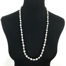 """NAPIER vintage silver-tone bead necklace - elegant shiny brushed heavy 30"""" - $29.40"""