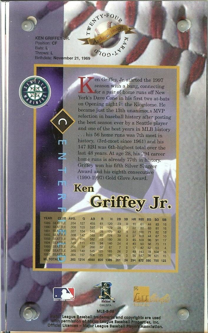 ken griffey jr seattle mariners1998 authentic images 24 k serial 103