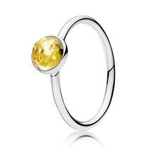 925 Sterling Silver November Droplet with Citrine Cz Birthstone Ring QJCB1014 - $19.99
