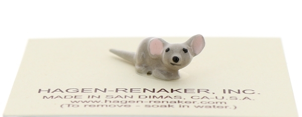 Hagen-Renaker Miniature Ceramic Mouse Figurine Tiny Baby with Straight Tail