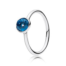 925 Sterling Silver December Droplet with London Blue Birthstone Ring QJCB1015 - $19.99