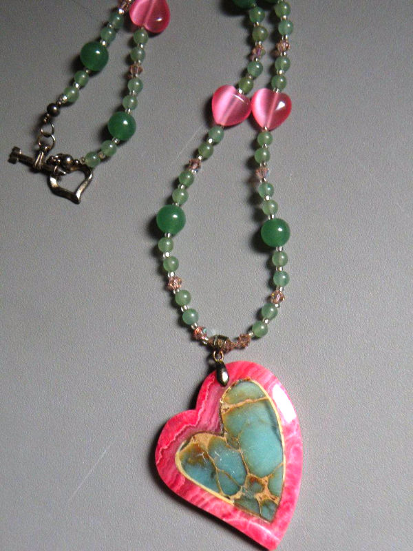 Handmade Necklace Pink Green Agate Heart Intarsia Design