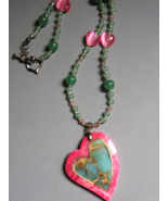 Handmade Necklace Pink Green Agate Heart Intrsia Design - $79.00