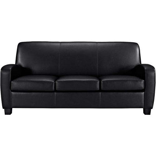 Thick Leather Sofa : Black Faux Leather Sofa Living Room Furniture Thick Padded Seat ...