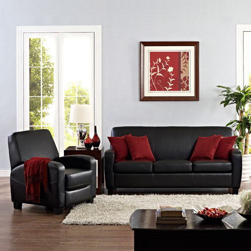 black faux leather sofa living room furniture thick padded seat cushions comfort sofas. Black Bedroom Furniture Sets. Home Design Ideas