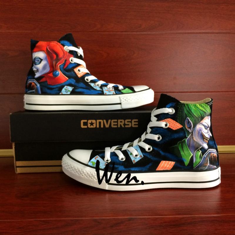 Men Women s Converse All Star Joker Harley Quinn Design Hand Painted Shoes 48e4f9808
