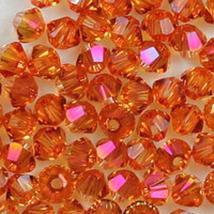 6mm Crystal Astral Pink Swarovski Xilion Beads 5328 72  bicones, w orange - $12.25