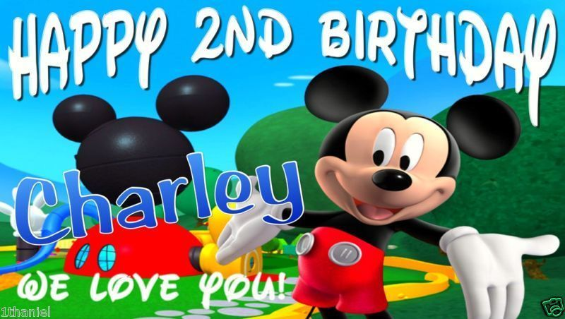 Mickey Mouse Club House Custom Birthday Party Banner Decoration-Mickey