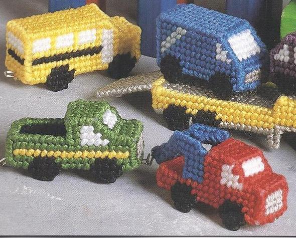 Mini Cars & Trucks Plastic Canvas Pattern~Needlecraft Shop~1991~OOP