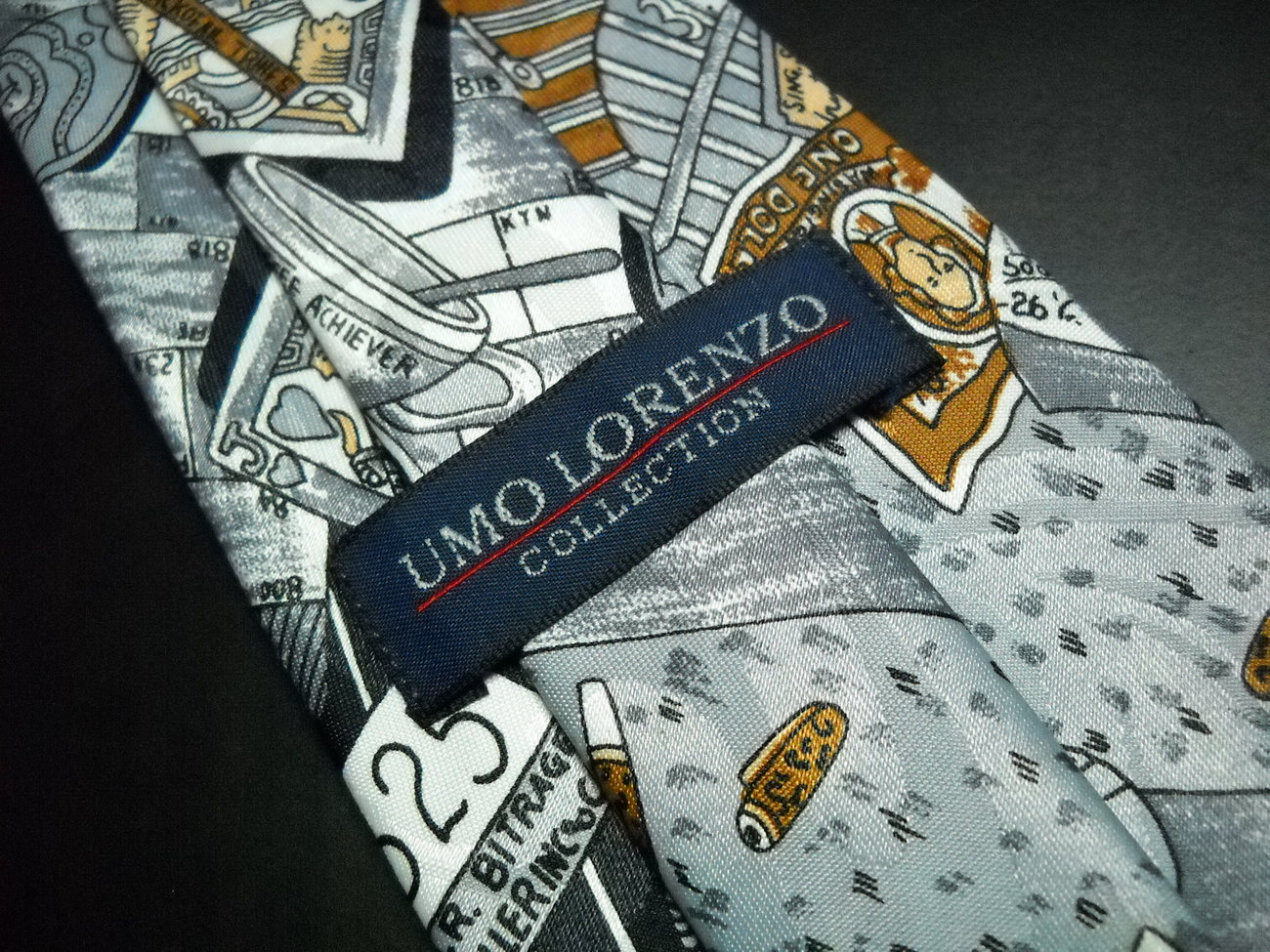 Umo Lorenzo Neck Tie Stock Exchange Theme Greys Soft Browns Buy Sell and Stress