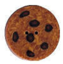 "Chocolate Chip Cookie 4500s handmade clay button .50"" JABC Just Another Button  - $1.40"
