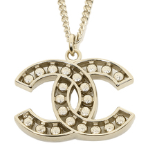 AUTHENTIC CHANEL GOLD CC LOGO PEARL CRYSTAL PENDANT NECKLACE MINT image 2