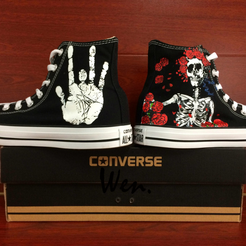 Converse All Star Grateful Dead Skull Roses Custom Hand Painted Canvas Shoes