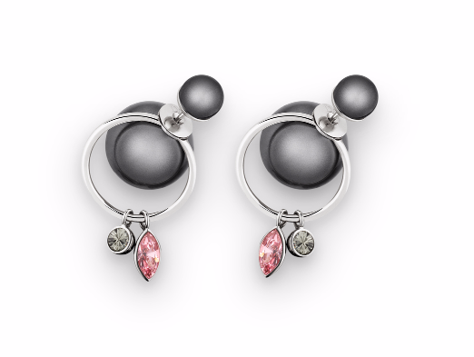 Auth Christian DIOR 2016 Classic Mise En Dior Gray Crystal TRIBAL Pearl Earrings