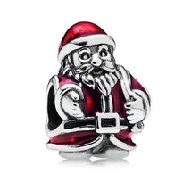 925 Sterling Silver Red Santa Christmas Charm Bead QJCB230 - $20.66