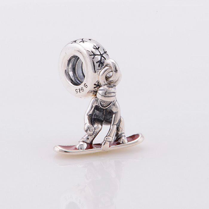 925 Sterling Silver Snowboard Dangle & Red Enamel Christmas Charm Bead QJCB367