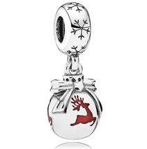925 Sterling Silver Christmas Ornament Dangle Pendant Charm Bead QJCB796 - $24.66