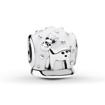 925 Sterling Silver Snow Globe with White Enamel Christmas Charm Bead QJ... - $22.88