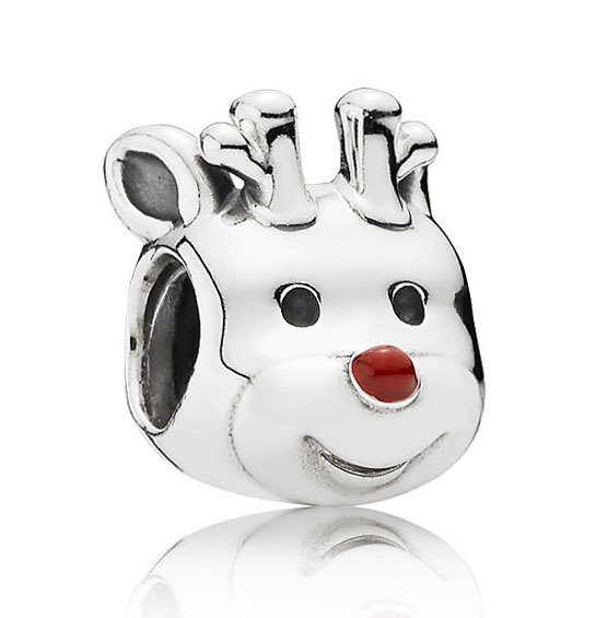 925 Sterling Silver Christmas Red-Nosed Reindeer Charm Bead QJCB794