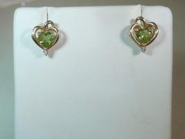 14k Gold Heart Shape Peridot with Diamond Accents Earrings 50% OFF - $149.99