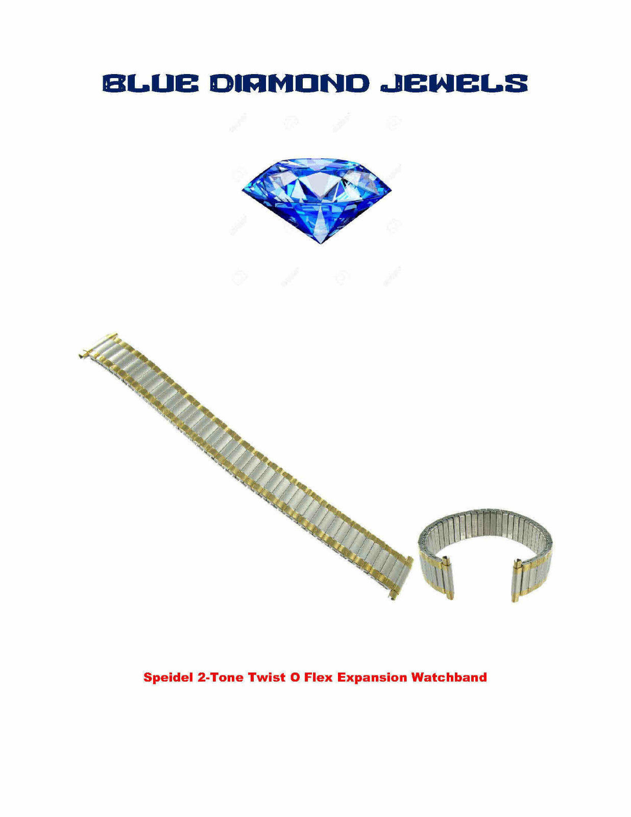 Primary image for Speidel Straight End Twist-O-Flex Wide One TwoTone Watch Band 1242/16