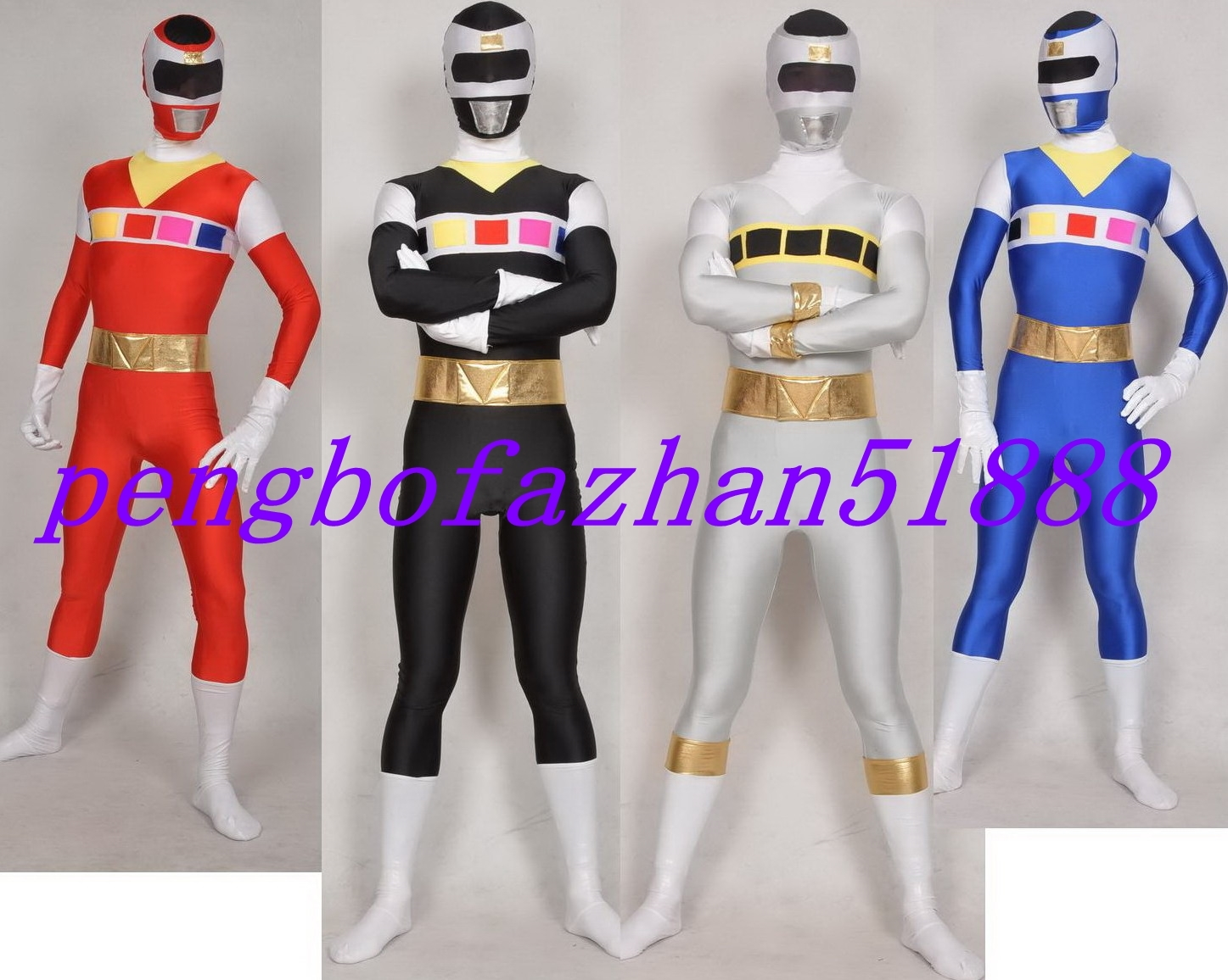 HALLOWEEN COSPLAY SUIT AMAZING POWER RANGER SUIT CATSUIT COSTUMES 4 COLOR S569