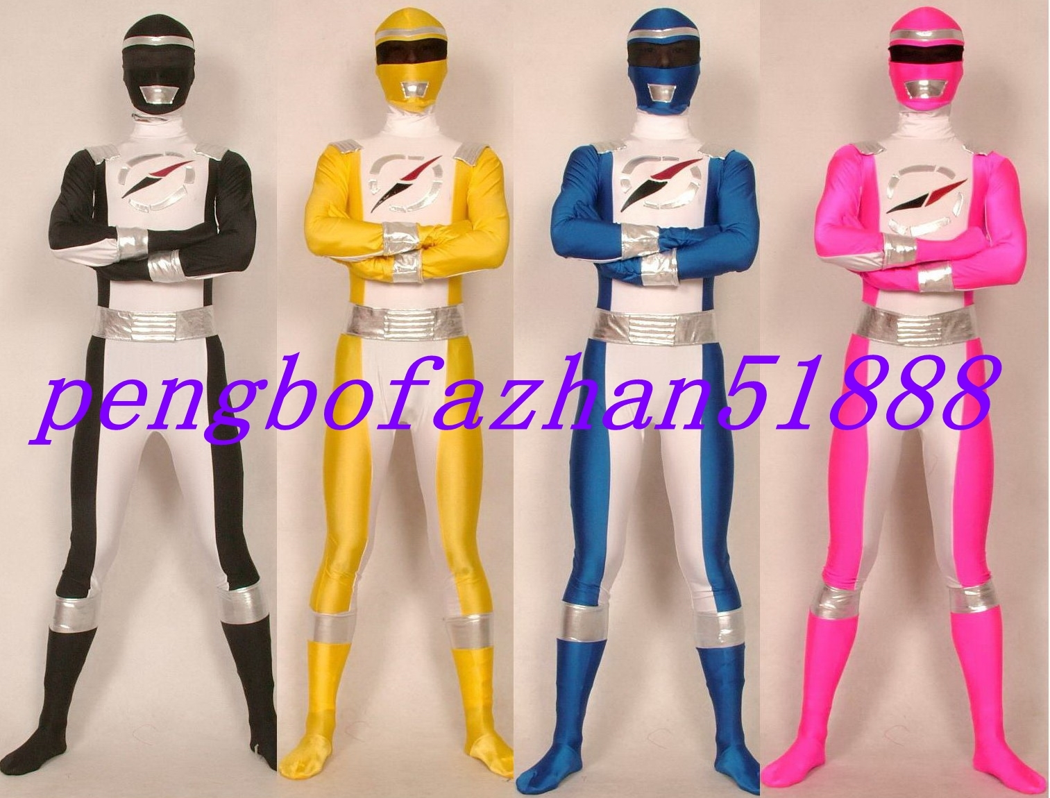 NEW 4 COLOR HALLOWEEN COSPLAY SUIT FANCY POWER RANGER SUIT CATSUIT COSTUMES S570