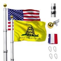 16FT Telescopic Flag Pole, Heavy Duty Aluminum Flagpole Kit Fly 2 Flags,... - $115.06+