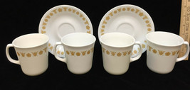 Corelle Cups & Saucers Butterfly Gold Mugs Set 6 Pieces White Vintage Co... - $12.86