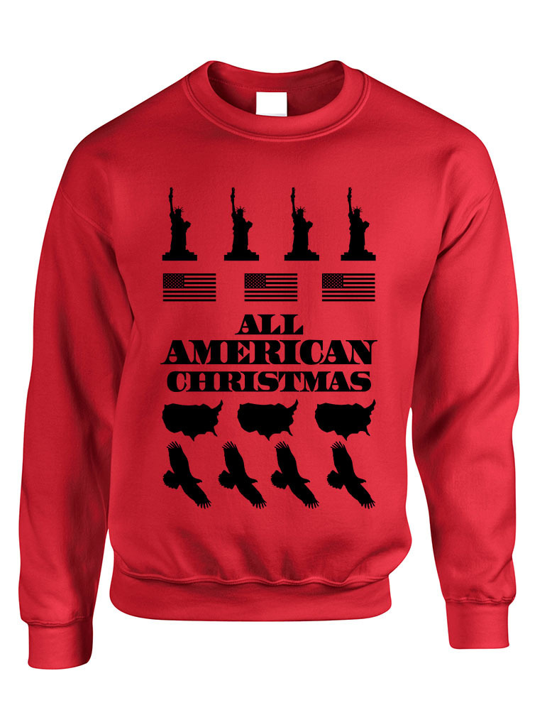 Primary image for Adult Crewneck American Christmas Ugly Sweater Love USA Top