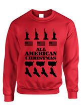 Adult Crewneck American Christmas Ugly Sweater Love USA Top - $17.94+