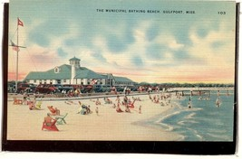 Bathing beach Gulfport MISS 1930s car  POSTCARD  2.198 - $6.00