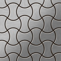 Mosaic tile massiv metal Stainless Steel brushed grey 1,6mm thick ALLOY ... - $667.58