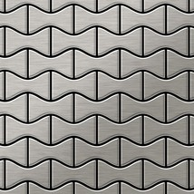 Mosaic tile massiv metal Stainless Steel brushed grey 1,6mm thick ALLOY ... - $710.41