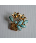 Vintage Faux Turquoise and Gold Flowers Gold-To... - $25.00
