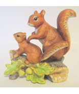 Squirrel Mom Baby Figurine 1457 Homco Porcelain Malaysia - $31.18