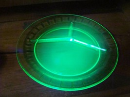Set of 4 Block Optic Green Depression Hocking Glass Uranium Divided Gril... - $49.49