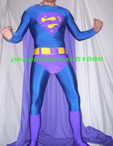 New Lycra Spandex Zentai Blue/Purple Superman Suit Costumes With Long Cape S591 - $79.99+