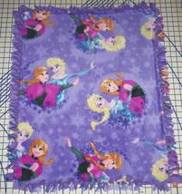 "Disney Frozen Anna Elsa Purple Fleece Baby Blanket Pet Lap 30"" x 34"" - $39.95"