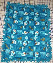 """Disney Frozen Olaf Warm Hugs Blue Fleece Baby Blanket Pet Lap 30"""" x 34"""" - $39.95"""