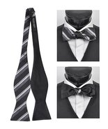 Men's Black 100% Silk Woven Freestyle and Reversible Bow Tie FRBS1050 - $8.99