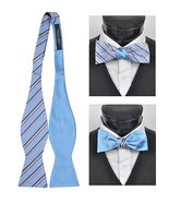 Men's Blue 100% Silk Woven Freestyle and Reversible Bow Tie FRBS1060 - $8.99