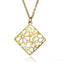 Necklace Pendant Designer Vintage Tribel Flowers Spirals Charm Gold Tone... - $18.68