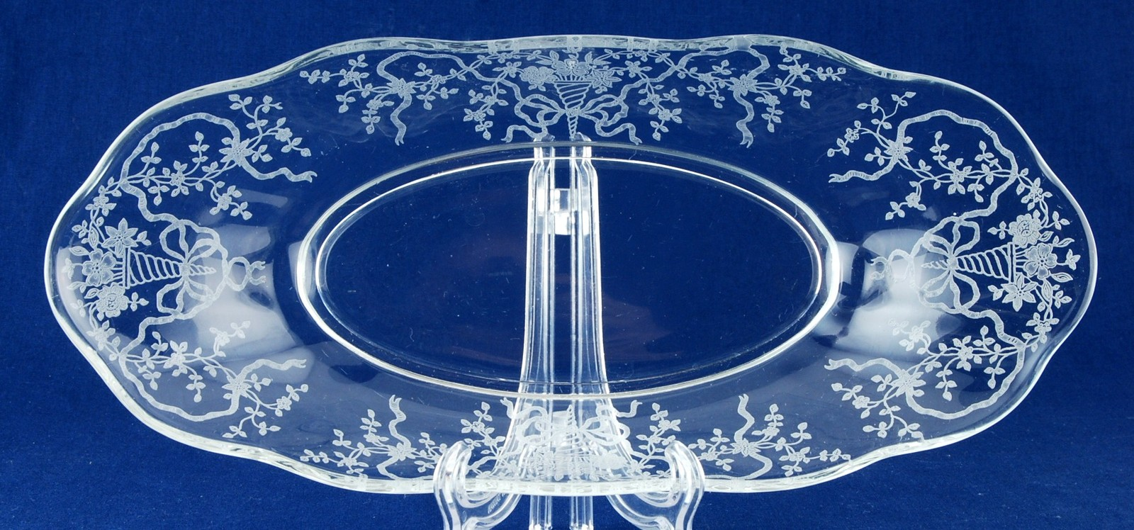Fostoria Glass Co. Corsage Celery Dish Clear Etched Elegant