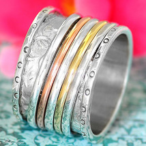 Sterling Silver 925 Spinning Ring Thick Leaf Meditation Spin Spinner Ban... - $32.00