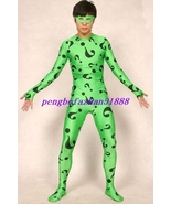 HALLOWEEN COSPLAY SUIT GREEN LYCRA RIDDLER BODY SUIT CATSUIT COSTUME UNI... - $49.99